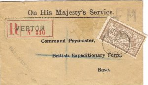 BEF France WW1 1917 OHMS Cover Registered VERTON to British Expeditionary Force