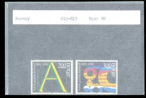 NORWAY Sc#812-813 MINT NEVER HINGED Complete Set