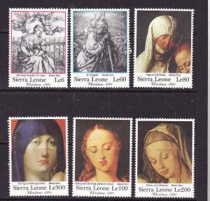 Sierra Leone-Sc#1430-5-unused NH short set to the 300le-Durer-Paintings-1991-