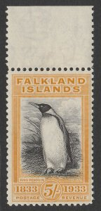 FALKLAND ISLANDS : 1933 Centenary 5/- black & yellow King Penguin. MNH **.