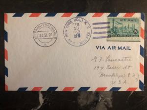 1952 New York USA Special flight cover Swiss Air to Frankfurt Germany 109 Flown