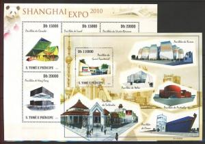 Sao Tomé e Príncipe stamp Shanghai EXPO pavilions minisheet + block MNH WS102863