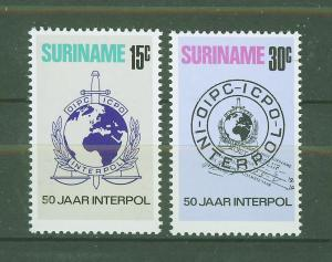 SURINAM/SURINAME 1973 MNH SC.406/407 Interpol,50th