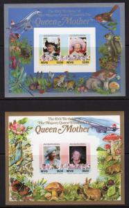 Nevis  1985  Sc# 432/433   Concorde/Mushrooms/Butterflies/Birds 2 SS IMPERFORATE