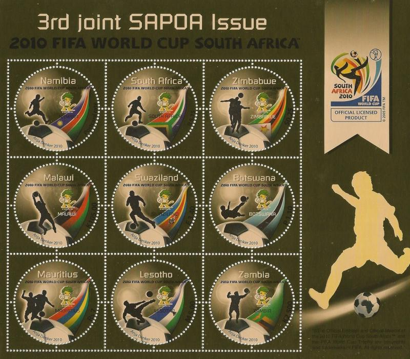 Namibia 2010 SAPOA World Cup Football Displaying all 9 Countries (South Afric...