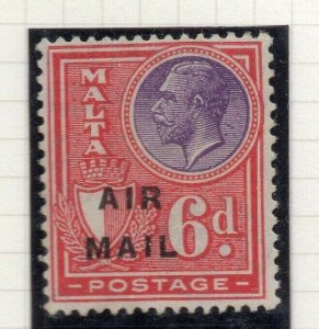 Malta 1928 Early Issue Fine Mint Hinged 6d. Air Mail Optd 321598