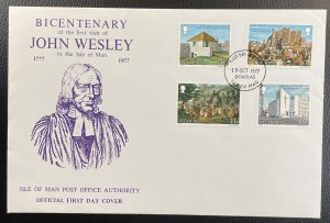 Isle of Man #105-108 Used VF/XF First Day Cover - John Wesley 1977 [CVR201]