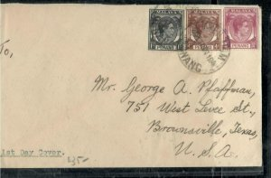 MALAYA PENANG COVER (P0307B) 1949 KGVI 1C+4C+10C FIRST DAY COVER TO USA