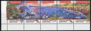 Christmas Island Scott 347 MNHOG - 1992 Christmas Issue Strip of 5 - SCV $7.00