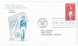 #C68, 8c Amelia Earhart, Strick Cover cachet