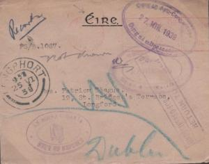 EIRE Imprint Official Military REGISTERED RETURNED Defence Department 1938 MS490
