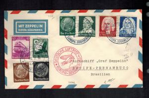 1935 Germany Graf Zeppelin Cover to Recife Pernambuco Brazil  LZ 127 8th SAF DZR