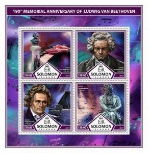 Solomon Islands - 2017 Beethoven - 4 Stamp Sheet - SLM17307a