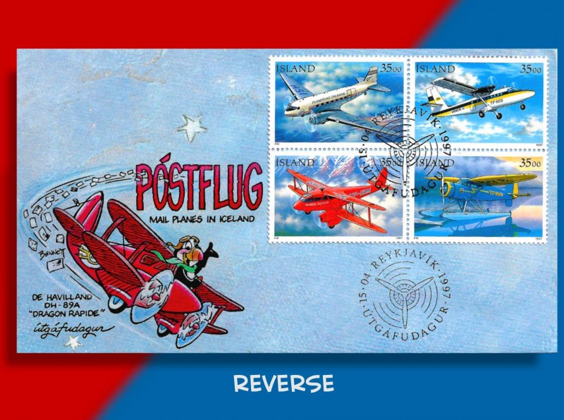 Iceland Takes to the Air with Handcolored FDC for Postal Planes Block of 4!