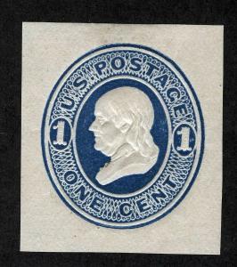 US Sc U75 Blue Reay 1¢ on Amber Unused CUT SQUARE