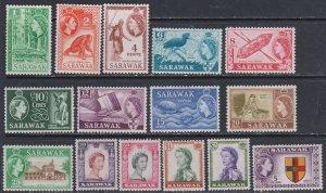 Sarawak 1955-1957 Scott 197-211 Queen and various MNH