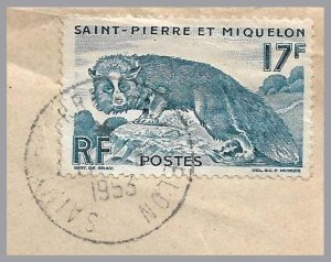 St. Pierre & Miquelon (France) - 1953 Commercial Cover to USA - 17F Silver Fox