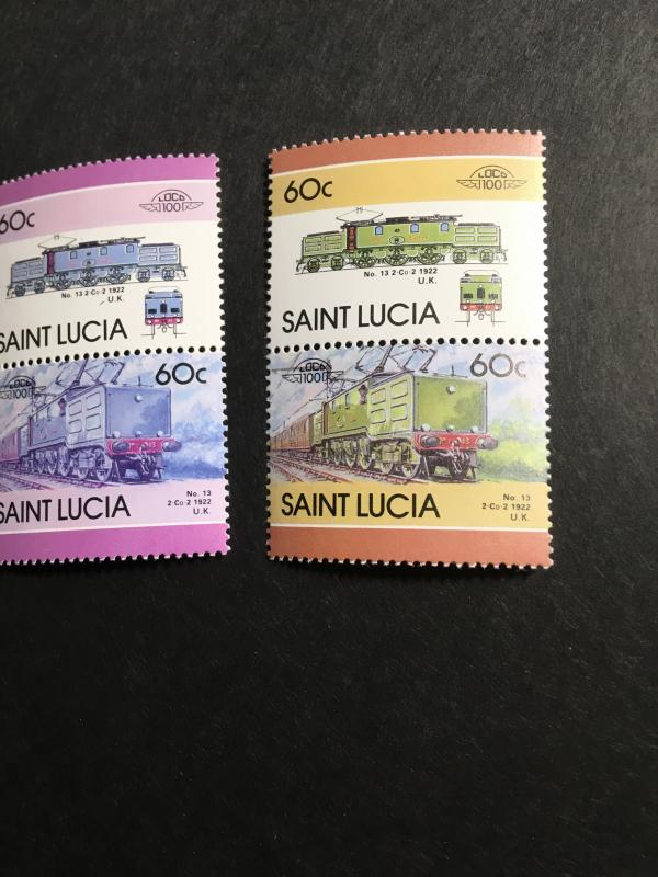 St. Lucia (#810) 1986 60c Locomotive Pair Missing Colour With  PairNormalsVF-NH