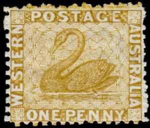 Western Australia Scott 29, Perf. 12.5 (1865) Mint H F, CV $110.00 M
