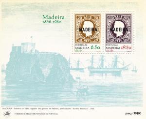 Portugal Madeira # 67a, Stamp On Stamp Souvenir Sheet, NH
