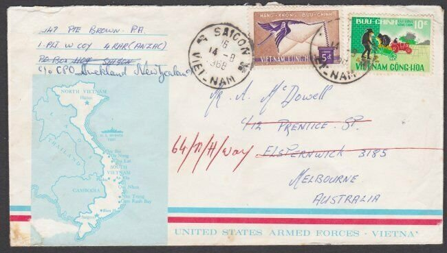 NEW ZEALAND FORCES VIETNAM 1968 US Forces envelope used to Australia........N632