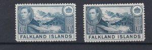 FALKLAND ISLANDS  1938 - 50 SG  158 + 158A  2 X 1/- VALUES MH