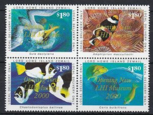 LH12a) Lord Howe Island, Museum Overprint Issue 31/5/00 Marine Park Issue.