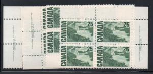 Canada Sc 465 Pl 1 1967 25c Solemn Land Matched set Plate Blocks mint NH