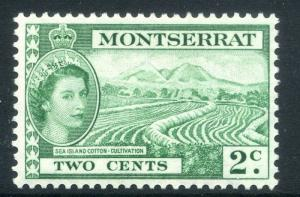 MONTSERRAT;  1953 early QEII issue fine Mint hinged 2c. value