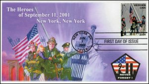 AO-B2-4, 2002, 9-11 Heroes, First Day Cover, Add-on Cachet, SC B2, New York,NY