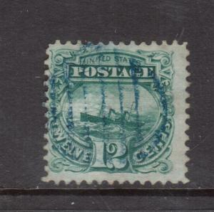 USA #117 Used Fine With Blue Grid Cancel