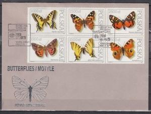 Poland, Scott cat. 3050-3055. Butterflies issue. First Day Cover.