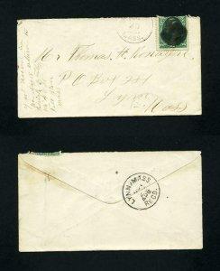 Cover from Fall River, Massachusetts to Lynn, Massachusetts dated 10-29-1881