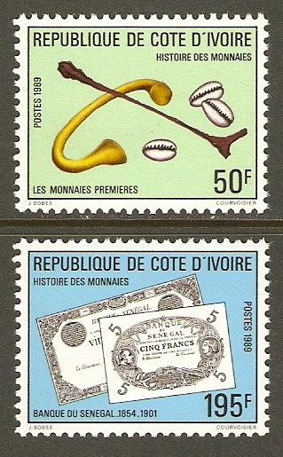 Ivory Coast #866-7 NH History of Currency