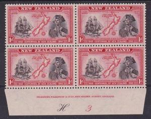 NEW ZEALAND 1940 Centenary 1d Capt Cook plate block H3 mint cat NZ$60.......2604