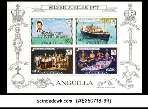 ANGUILLA - 1977 ROYAL VISIT TO WEST INDIES OVERPRINTED MIN/SHT MNH