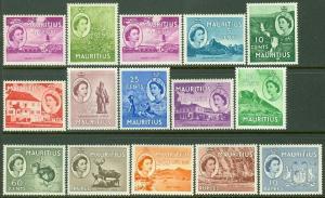 EDW1949SELL : MAURITIUS 1953-54 Scott #251-65 Very Fine, Mint OG LH Catalog $65.