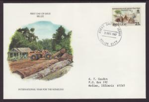 Belize Year of the Homeless 1987 Typed FDC BIN