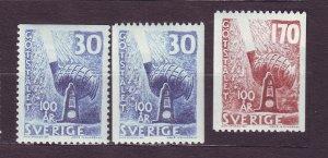 J22861 JLstamps 1958 sweden set mh #529-31 design