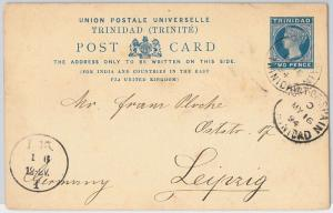 TRINIDAD -  POSTAL STATIONERY CARD from PORT OF SPAIN to GERMANY 1894