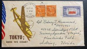 1943 Holliston MA USA Patriotic Cover To Special Pilot Squadron Hendricks Field