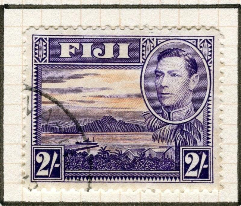 FIJI; 1938 early GVI issue fine used 2s. value, VARIETY Re-Entry top right