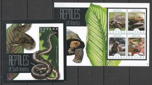 Z0163 2012 GUYANA FAUNA REPTILES OF SOUTH AMERICA TURTLES SNAKES KB+BL MNH