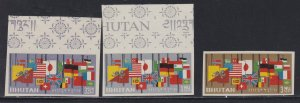 Bhutan # 33a (footnotes), Flags of the World, Imperf Set & Souvenir Sheet, NH