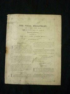 THE FISCAL PHILATELIST AND REVENUE STAMP GUIDE by LUNDY & MORLEY Vol 1 No 1 1892