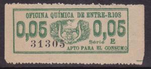 Argentina Revenue Stamp Forbin #17e Entre Rios 1894 Oficina Quimica S.E. 5c Used