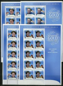 AUSTRALIA  2004 ATHENS OLYMPIC GAMES GOLD MEDALLISTS  SET OF 17  SHEET  MINT NH