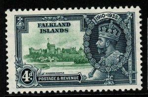 FALKLAND ISLANDS SG141 1935 4d SILVER JUBILEE MTD MINT