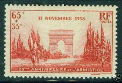 FRANCE Scott B77 MH* Victory Parade 1938 Arc De Triumph
