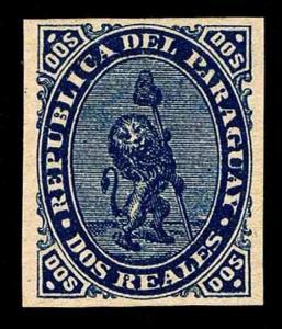 1870 PARAGUAY #2 COUNTERFEIT STAMP - NO GUM - VF  (ESP#1840)